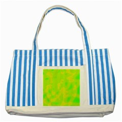 Simple Yellow And Green Striped Blue Tote Bag by Valentinaart