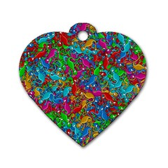 Lizards Dog Tag Heart (two Sides) by Valentinaart