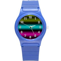 Dark Green Mint Blue Lilac Soft Gradient Round Plastic Sport Watch (s) by designworld65
