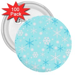 Blue Xmas Pattern 3  Buttons (100 Pack)  by Valentinaart