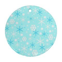 Blue Xmas Pattern Round Ornament (two Sides)  by Valentinaart