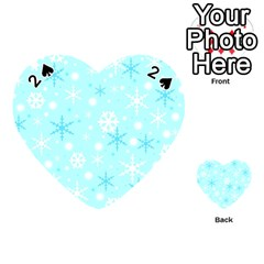 Blue Xmas Pattern Playing Cards 54 (heart)  by Valentinaart