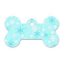 Blue Xmas Pattern Dog Tag Bone (one Side) by Valentinaart
