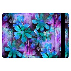 Blue On Purple Vintage Flowers Ipad Air Flip by KirstenStar