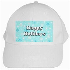 Happy Holidays Blue Pattern White Cap by Valentinaart
