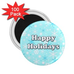 Happy Holidays Blue Pattern 2 25  Magnets (100 Pack)  by Valentinaart