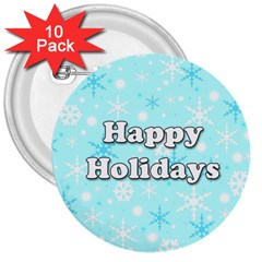 Happy Holidays Blue Pattern 3  Buttons (10 Pack)  by Valentinaart