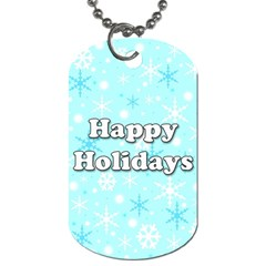 Happy Holidays Blue Pattern Dog Tag (one Side) by Valentinaart