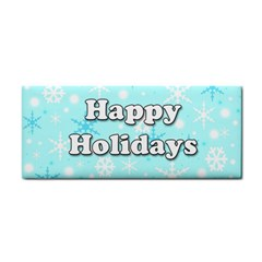 Happy Holidays Blue Pattern Hand Towel by Valentinaart