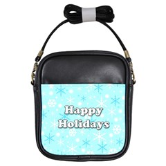 Happy Holidays Blue Pattern Girls Sling Bags by Valentinaart