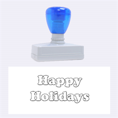 Happy Holidays Blue Pattern Rubber Stamps (large) by Valentinaart