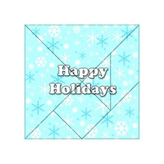 Happy Holidays Blue Pattern Acrylic Tangram Puzzle (4  X 4 ) by Valentinaart