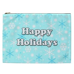 Happy Holidays Blue Pattern Cosmetic Bag (xxl)  by Valentinaart