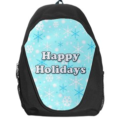 Happy Holidays Blue Pattern Backpack Bag by Valentinaart