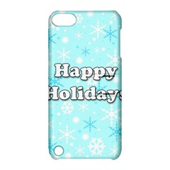 Happy Holidays Blue Pattern Apple Ipod Touch 5 Hardshell Case With Stand by Valentinaart