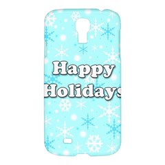 Happy Holidays Blue Pattern Samsung Galaxy S4 I9500/i9505 Hardshell Case by Valentinaart