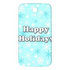 Happy Holidays Blue Pattern Samsung Galaxy Mega I9200 Hardshell Back Case by Valentinaart
