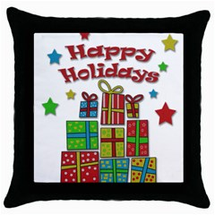 Happy Holidays   Gifts And Stars Throw Pillow Case (black) by Valentinaart
