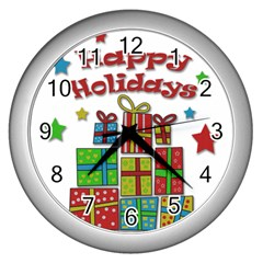 Happy Holidays   Gifts And Stars Wall Clocks (silver)  by Valentinaart