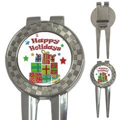 Happy Holidays   Gifts And Stars 3 In 1 Golf Divots by Valentinaart