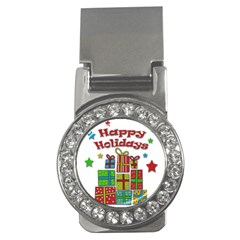 Happy Holidays   Gifts And Stars Money Clips (cz)  by Valentinaart