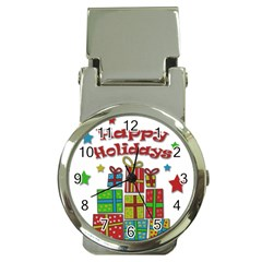 Happy Holidays   Gifts And Stars Money Clip Watches by Valentinaart