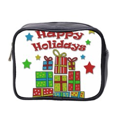 Happy Holidays   Gifts And Stars Mini Toiletries Bag 2 Side by Valentinaart
