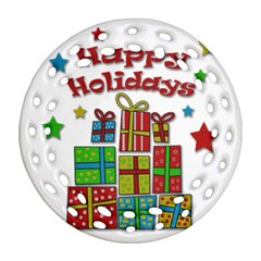 Happy Holidays   Gifts And Stars Round Filigree Ornament (2side) by Valentinaart