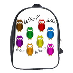 Cute Owls   Who? School Bags (xl)  by Valentinaart
