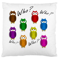 Cute Owls   Who? Standard Flano Cushion Case (one Side) by Valentinaart