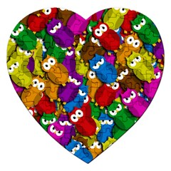Cute Owls Mess Jigsaw Puzzle (heart) by Valentinaart