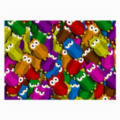 Cute Owls Mess Large Glasses Cloth by Valentinaart