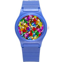Cute Owls Mess Round Plastic Sport Watch (s) by Valentinaart