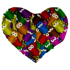 Cute Owls Mess Large 19  Premium Heart Shape Cushions by Valentinaart