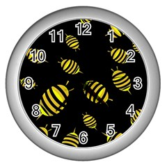 Decorative Bees Wall Clocks (silver)  by Valentinaart