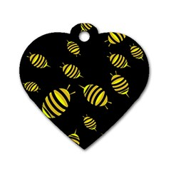 Decorative Bees Dog Tag Heart (two Sides) by Valentinaart