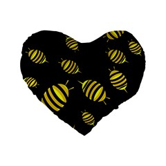 Decorative Bees Standard 16  Premium Heart Shape Cushions by Valentinaart