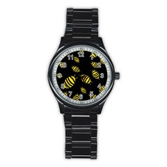 Decorative Bees Stainless Steel Round Watch by Valentinaart