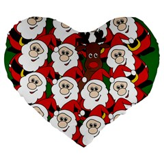Did You See Rudolph? Large 19  Premium Heart Shape Cushions by Valentinaart