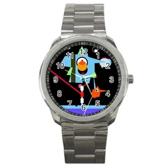 Abstract Composition  Sport Metal Watch by Valentinaart