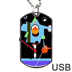 Abstract Composition  Dog Tag Usb Flash (one Side) by Valentinaart