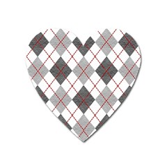 Fabric Texture Argyle Design Grey Heart Magnet by AnjaniArt