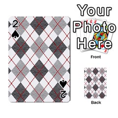 Fabric Texture Argyle Design Grey Playing Cards 54 Designs  by AnjaniArt
