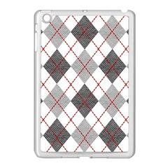 Fabric Texture Argyle Design Grey Apple Ipad Mini Case (white) by AnjaniArt