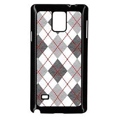 Fabric Texture Argyle Design Grey Samsung Galaxy Note 4 Case (Black) by AnjaniArt
