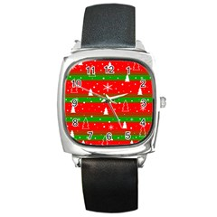Xmas Pattern Square Metal Watch by Valentinaart