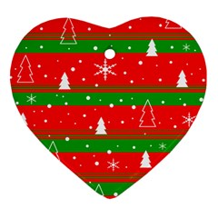 Xmas Pattern Heart Ornament (2 Sides) by Valentinaart
