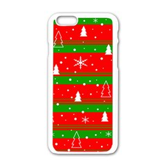 Xmas Pattern Apple Iphone 6/6s White Enamel Case by Valentinaart