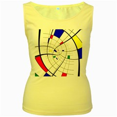 Swirl Grid With Colors Red Blue Green Yellow Spiral Women s Yellow Tank Top by designworld65