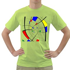 Swirl Grid With Colors Red Blue Green Yellow Spiral Green T Shirt by designworld65